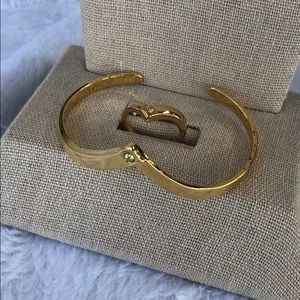 Avon vintage 1989 chevron sparkle bracelet & ring